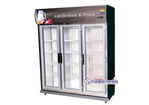 Pronta entrega - Expositor 3 portas de vidro, auto serviço, geladeira expositora